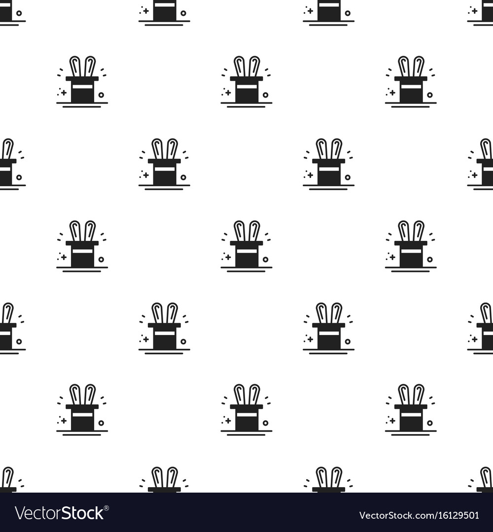 Magic trick seamless pattern rabbit in magician vector image