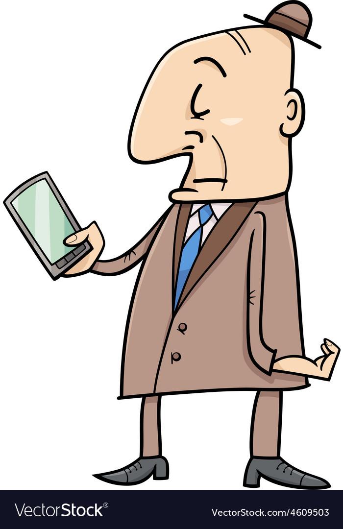 Elder man with smart phone vector image