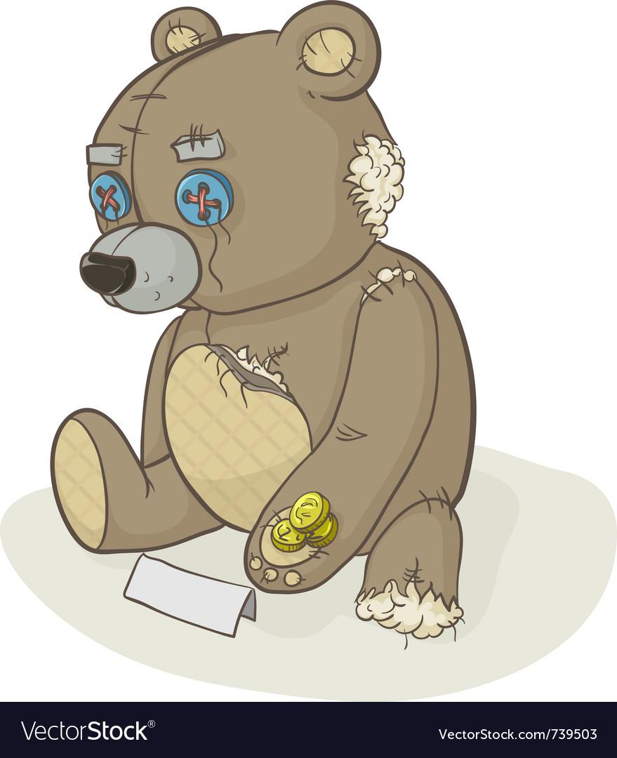 Torn beggar teddy bear vector image