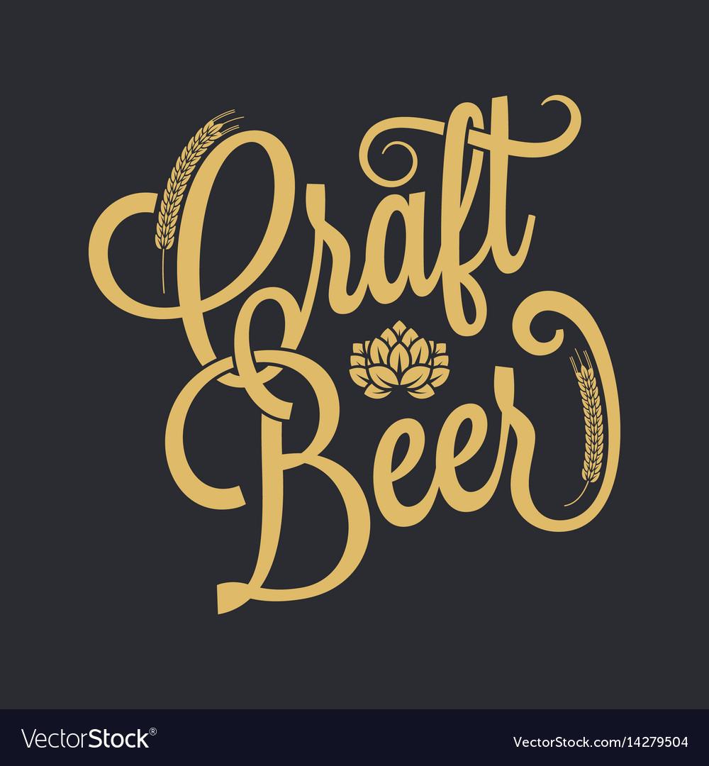Beer vintage lettering background vector image