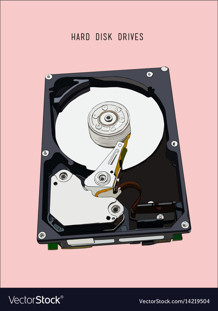 Opened hard disk drive isometric vector image
