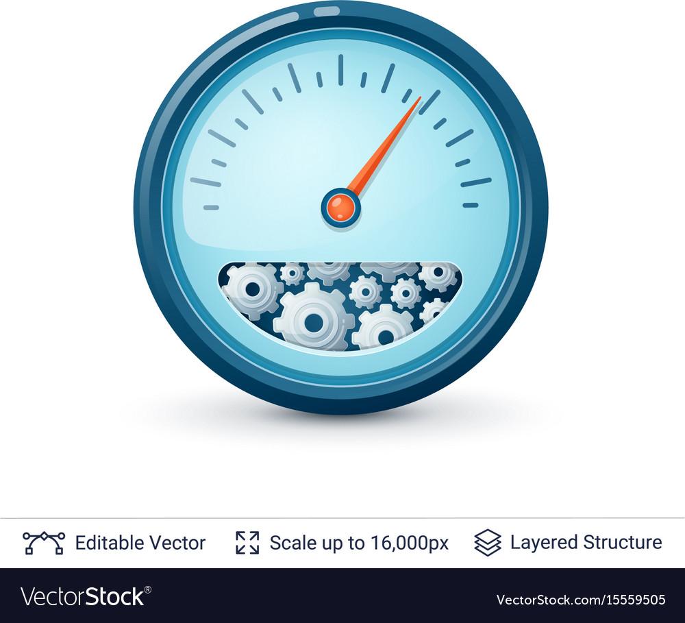 Speedometer with gears vector image