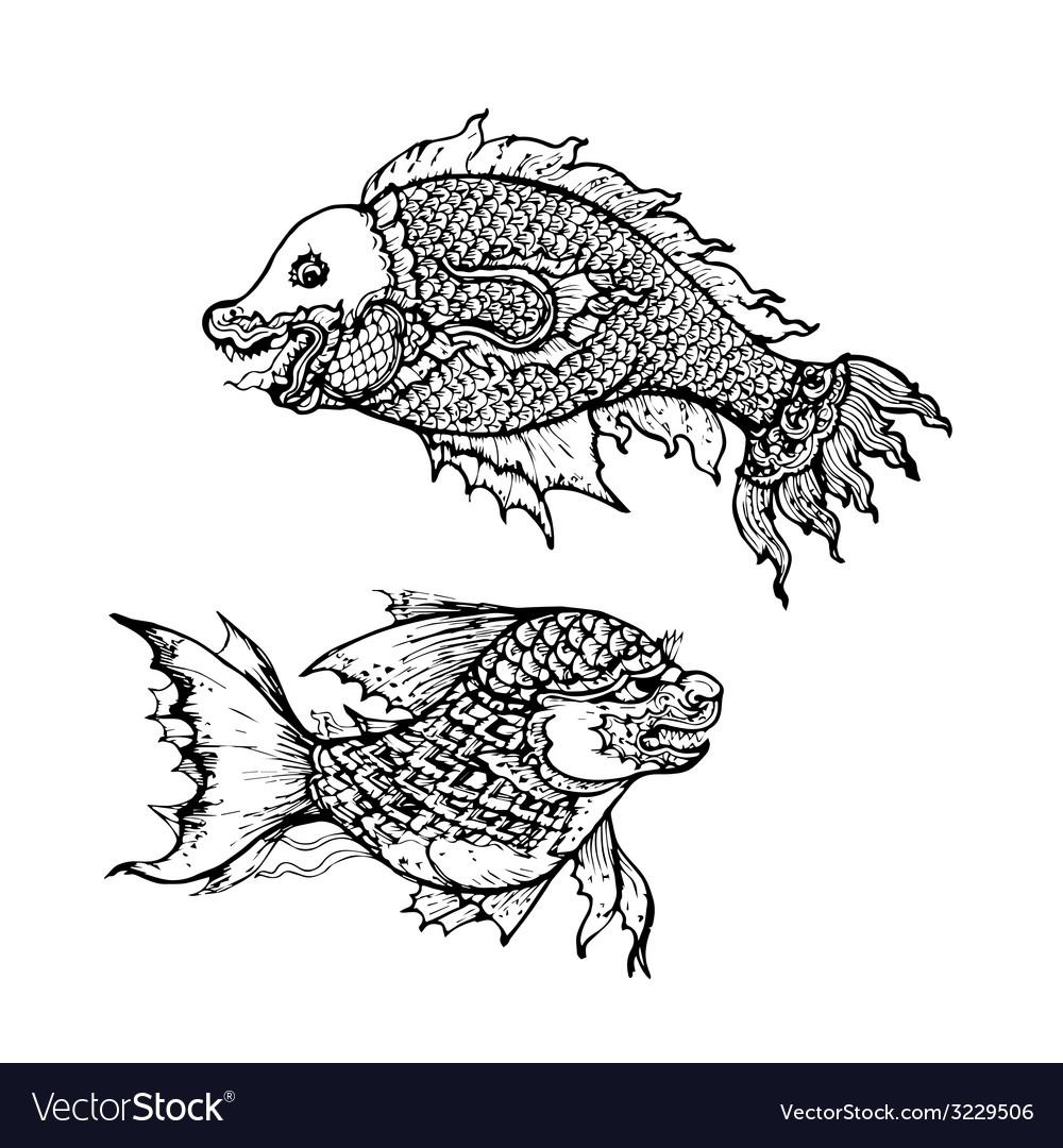 drawing of fish thai traditional art royalty free vector