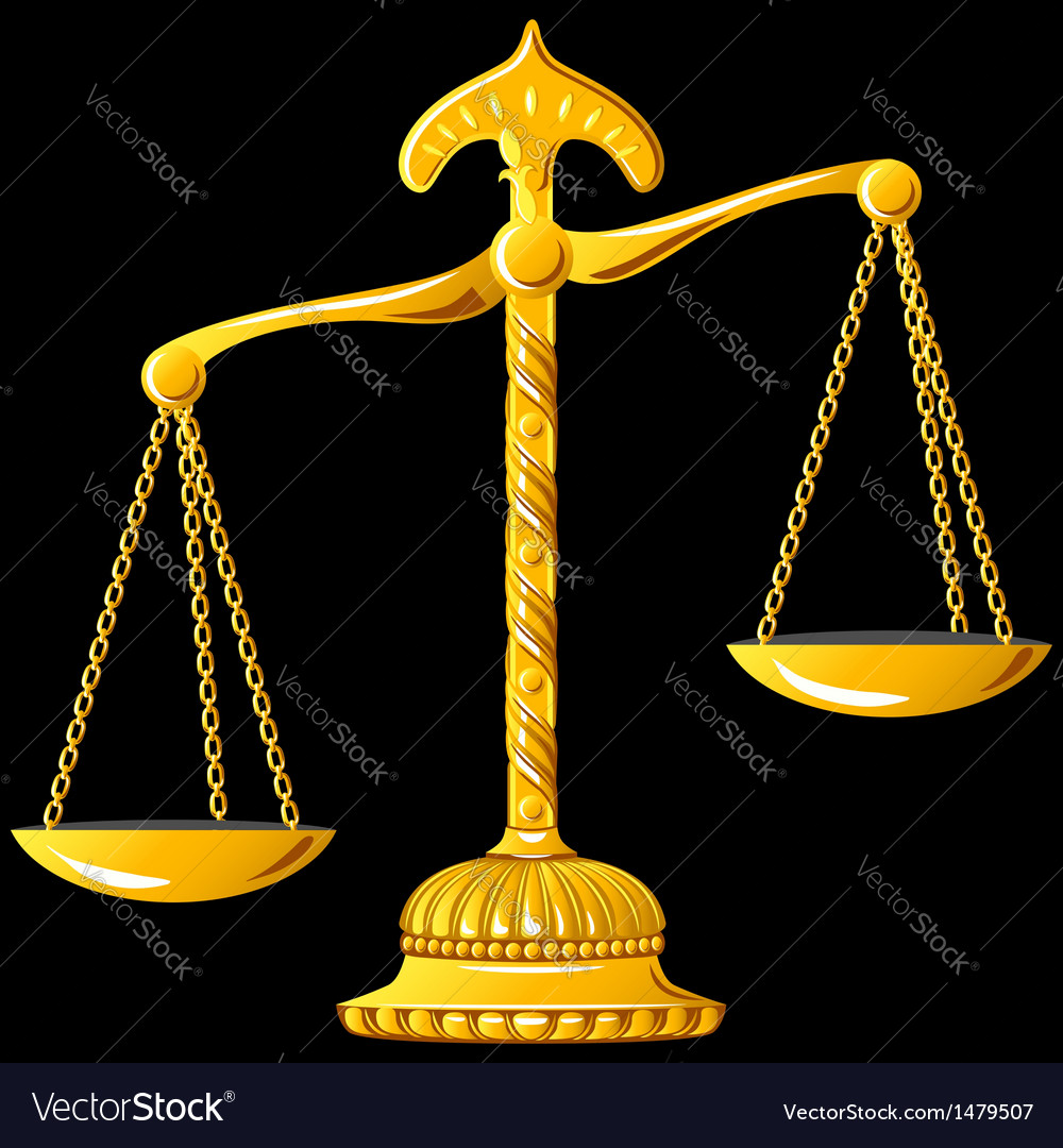 Gold scales unbalanced vector image