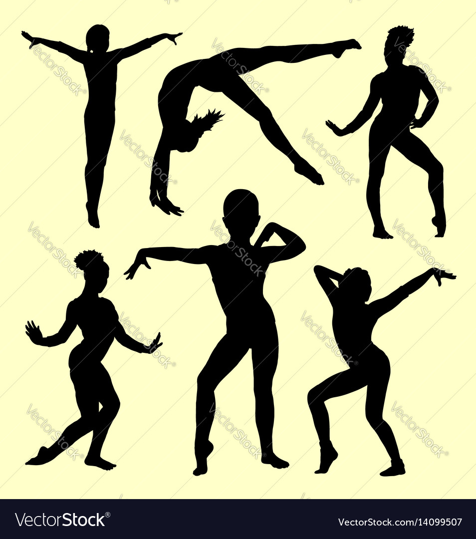 Gymnastic sport activity silhouette vector image