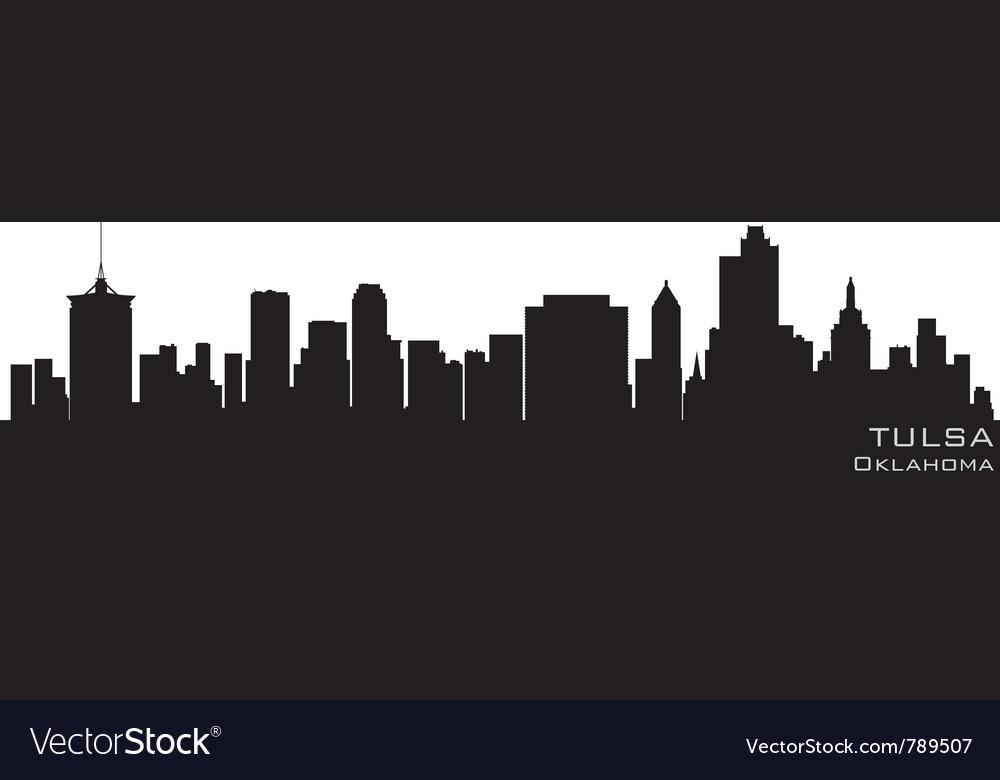Tulsa oklahoma skyline detailed silhouette vector image