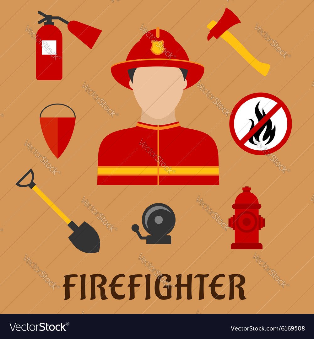 Fireman with fire fighting tools flat icons vector image