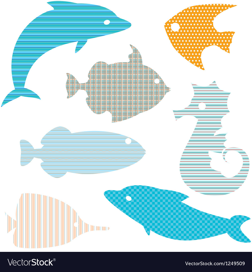 Set of fish silhouettes with simple patterns vector image
