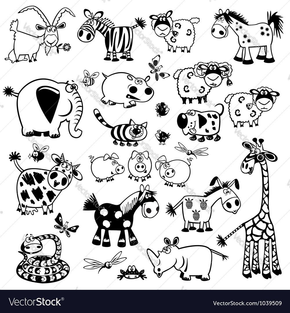 Set with black and white childish animals vector image