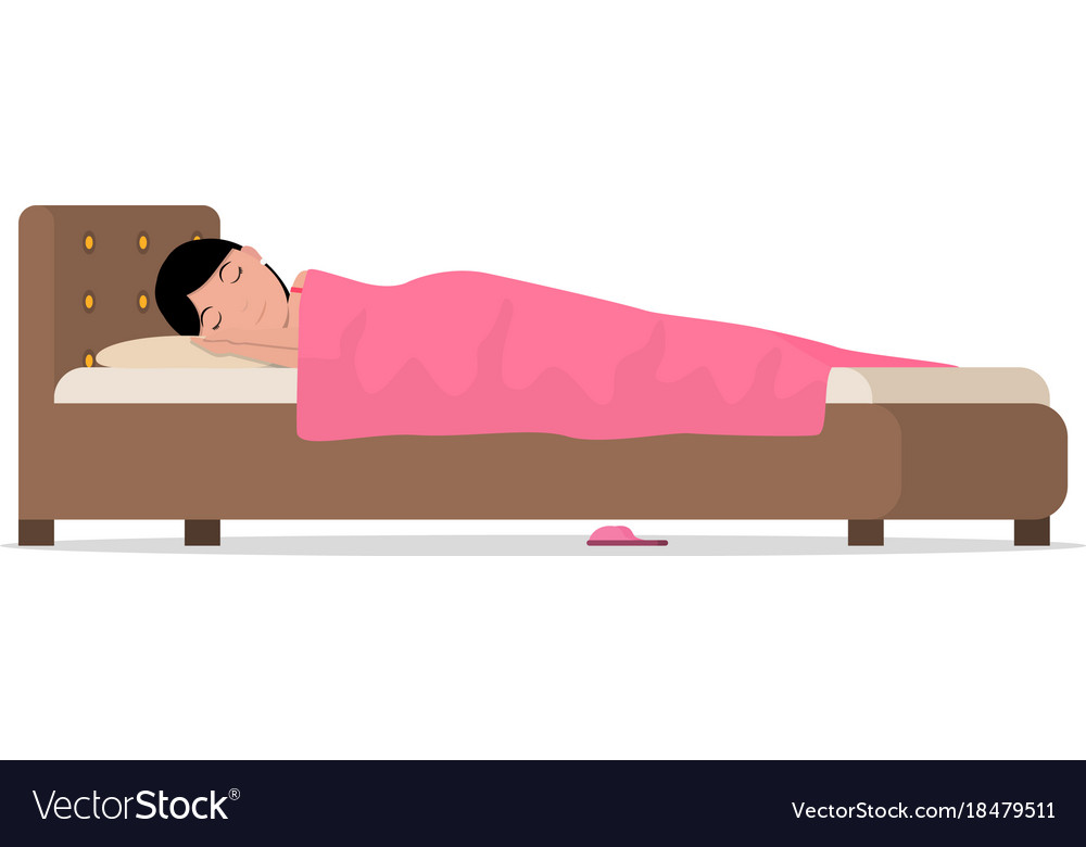 Cartoon sleeping woman in bed under blanket vector image