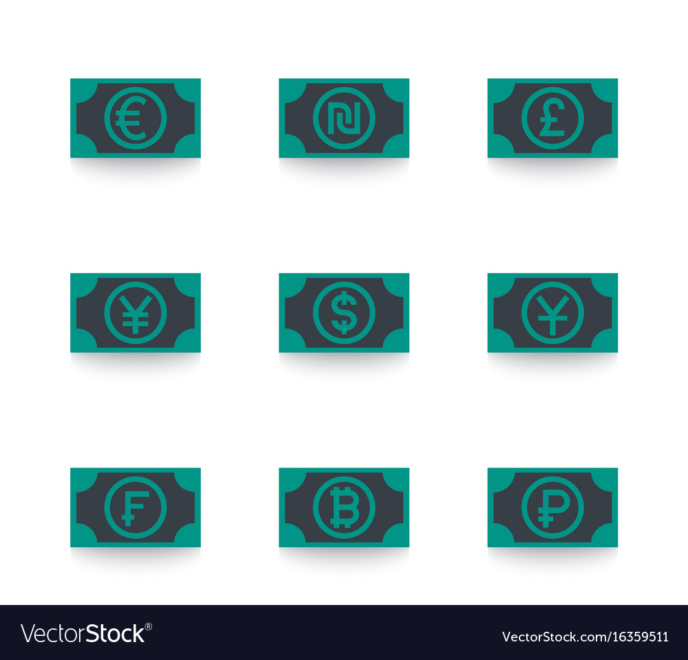 Currencies icons euro shekel pound yen dollar vector image