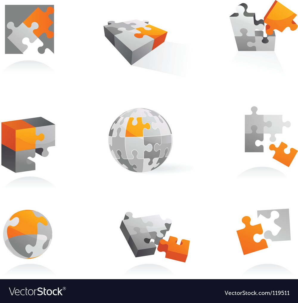 Puzzle icons vector image