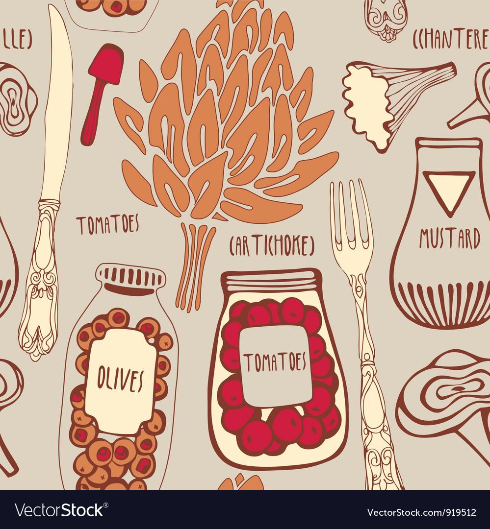 Vintage Gourmet Cooking Pattern vector image