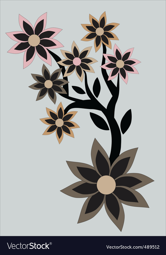 Floral abstract retro background vector image