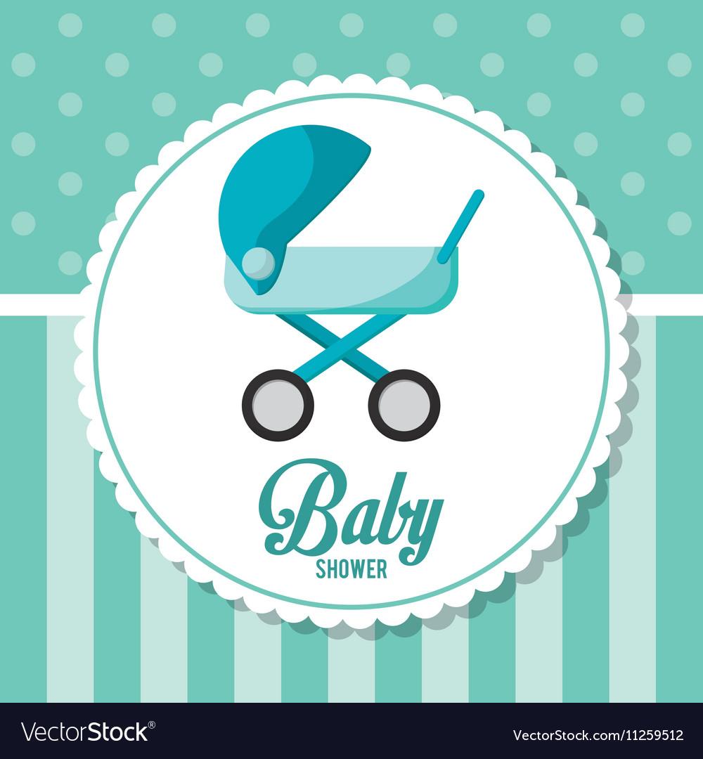 Stroller of baby shower card design vector image