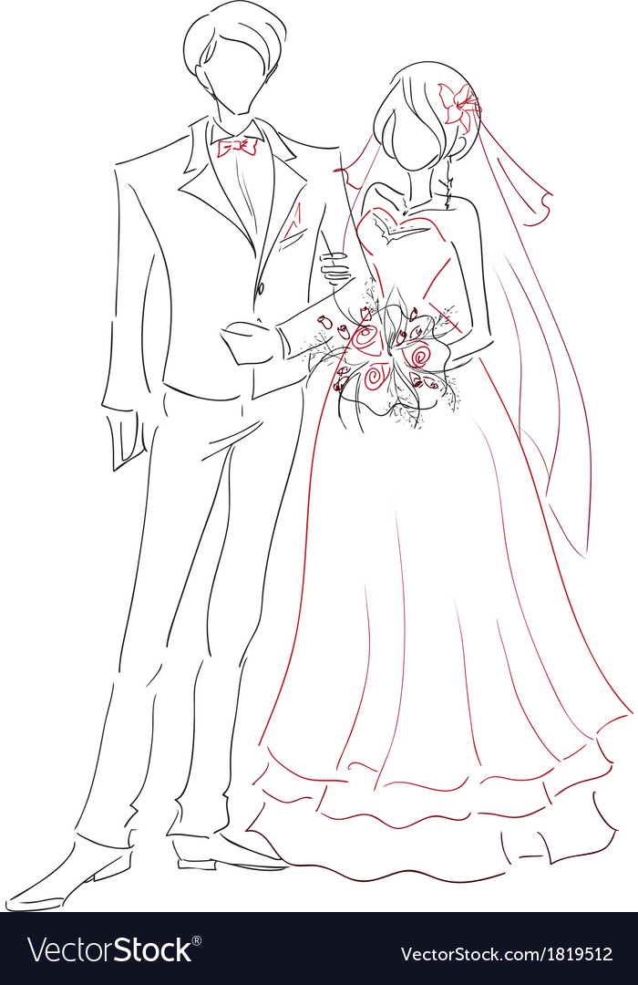 Wedding couple sketch vector image