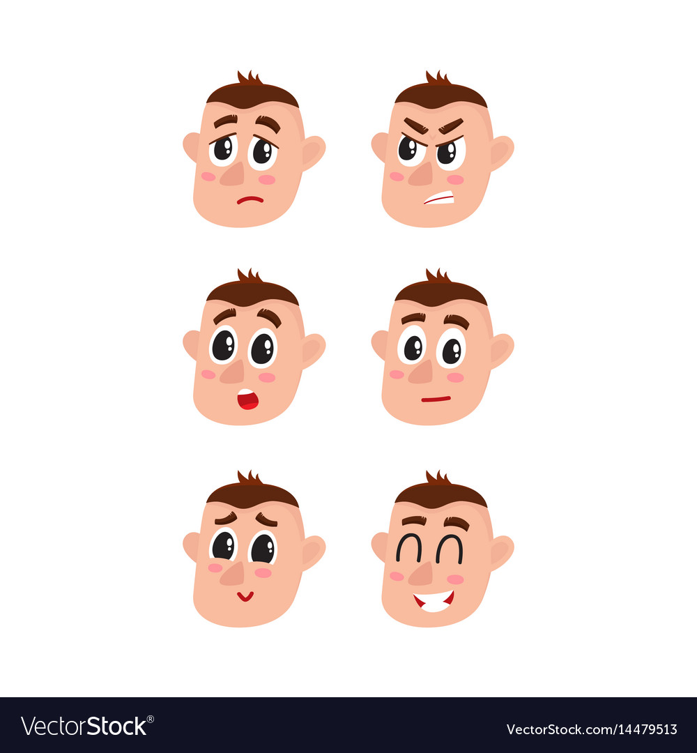 Face expressions set - upset angry surprised vector image