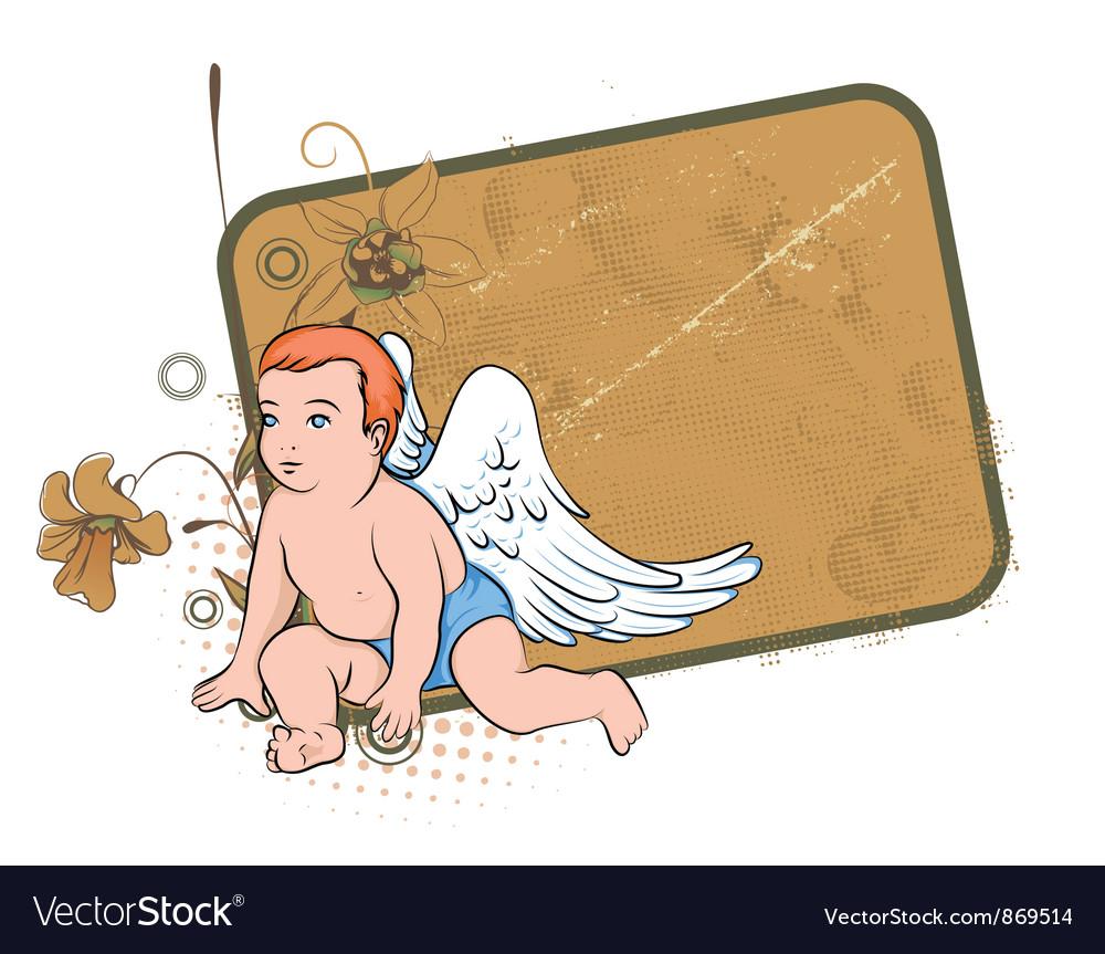 Grunge floral frame with angel vector image