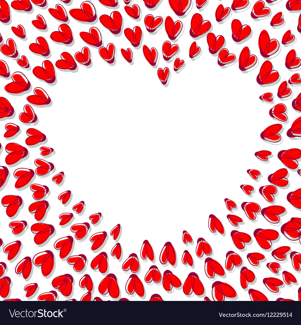 Heart Shape Frame Made From Red Hearts vector image