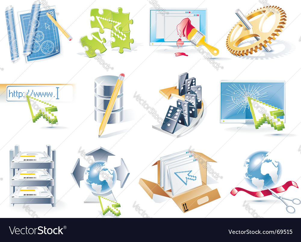 web site icon set vector image