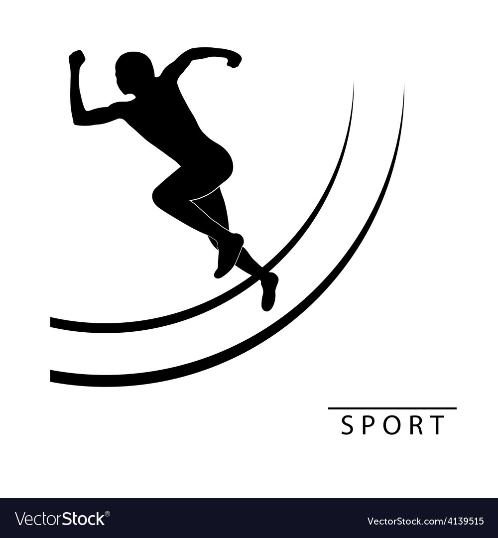 Silhouette of an athlete running logo vector image