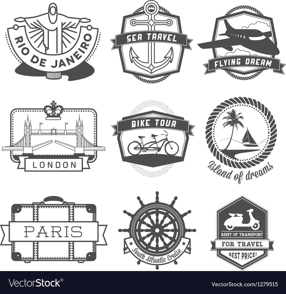 Travel badges set vector image