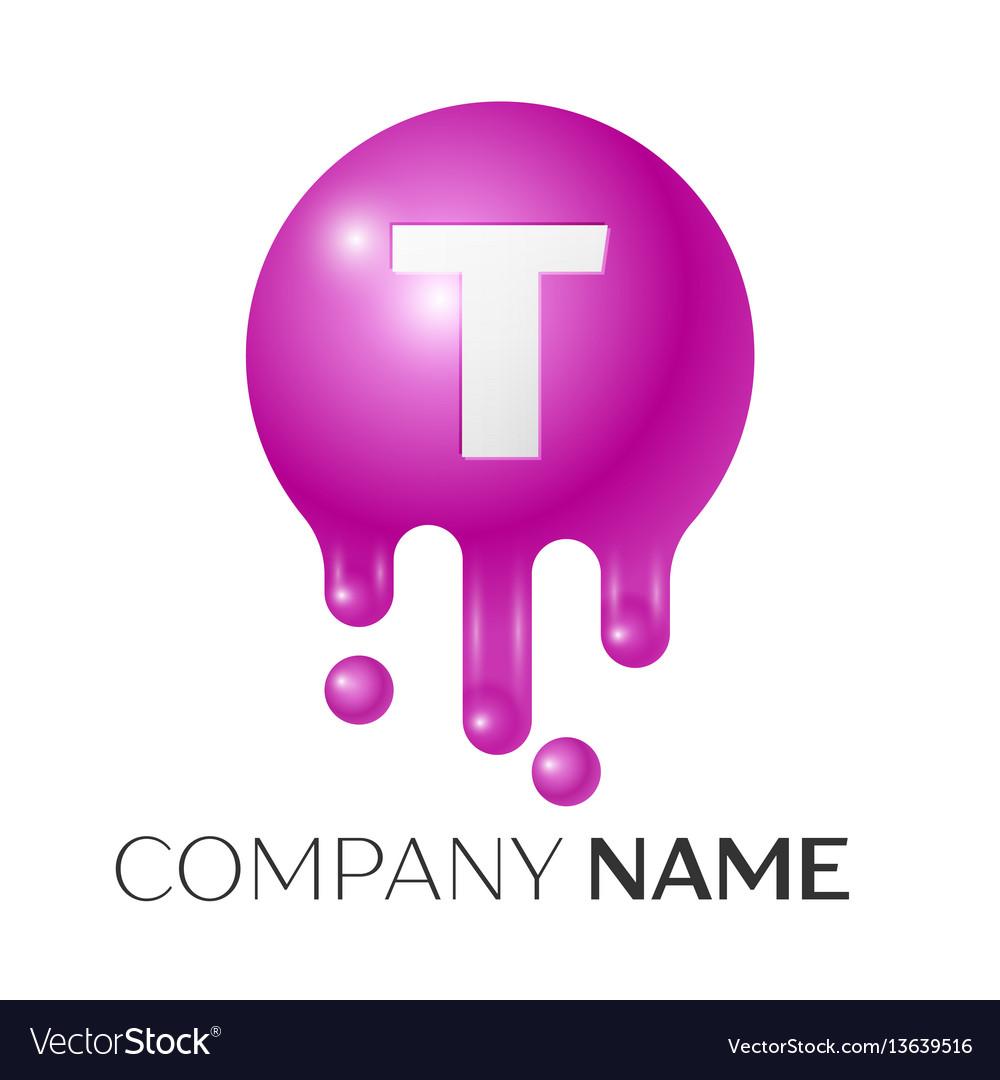 T letter splash logo purple dots and bubbles vector image