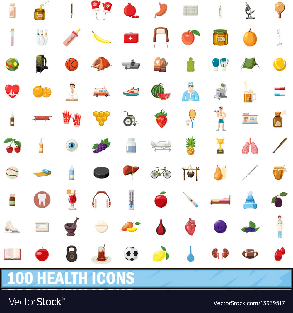 100 health icons set cartoon style vector image