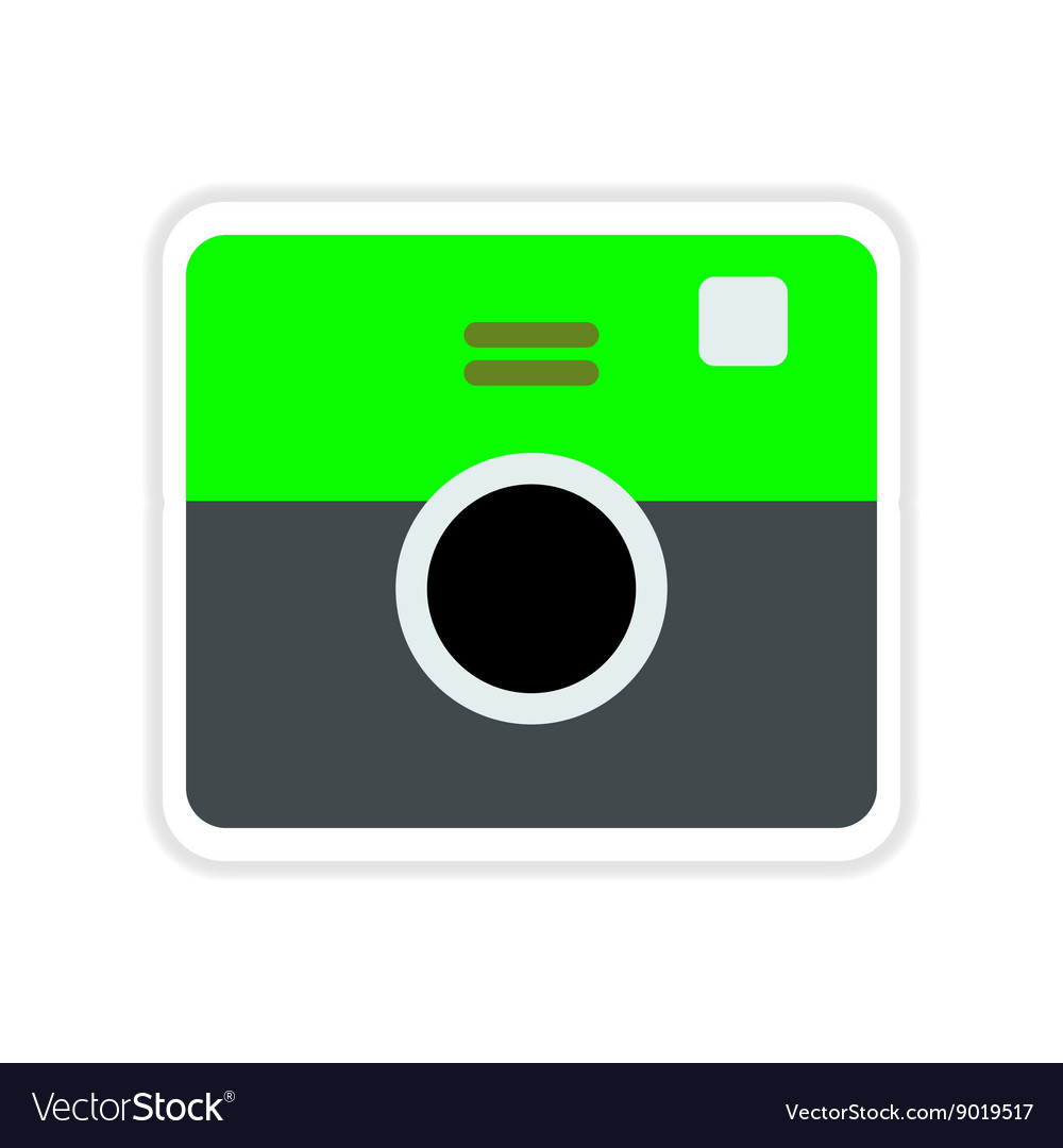 Paper sticker on white background retro camera