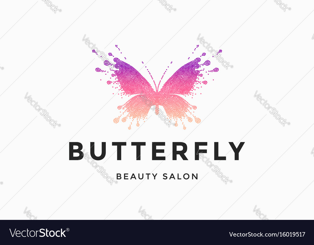 Label of beauty salon butterfly vector image
