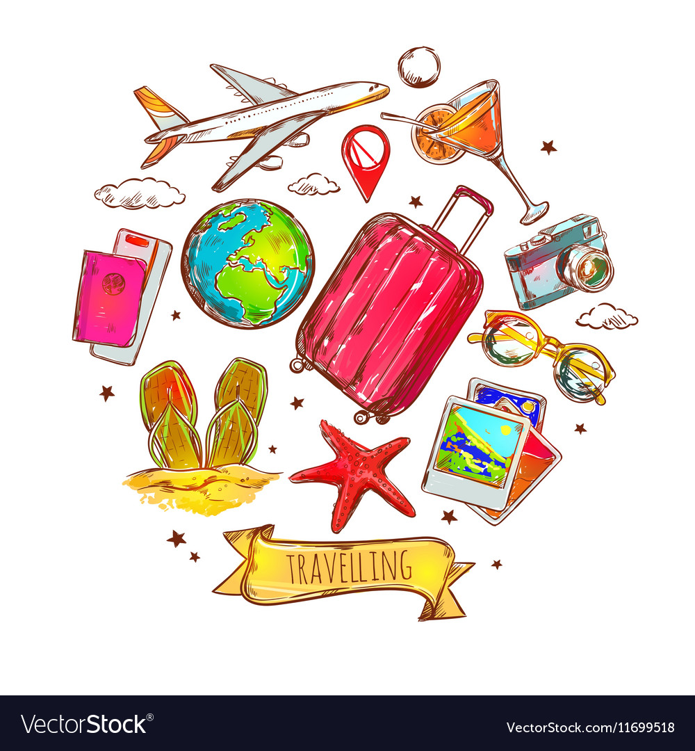 Travel Round Sketch Composition vector image