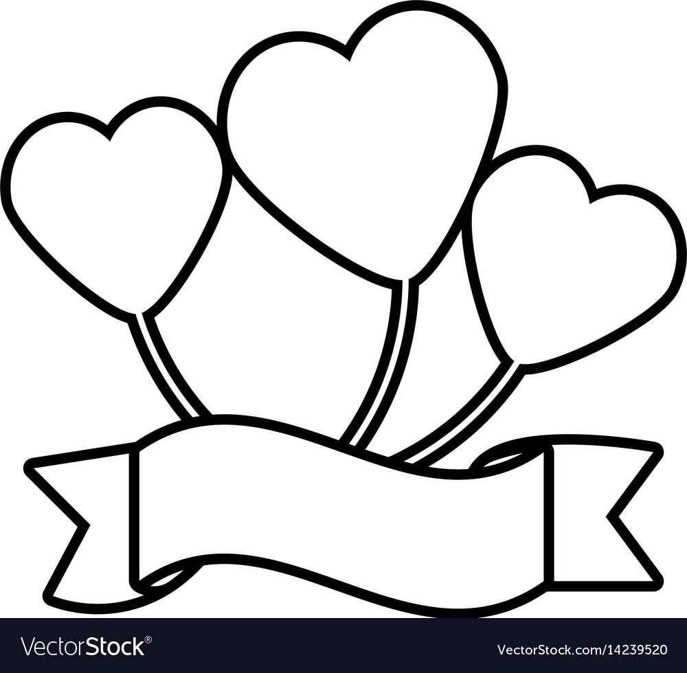 balloon heart ribbon decorative outline royalty free vector