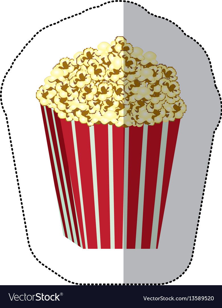 Color background sticker of butter popcorn vector image