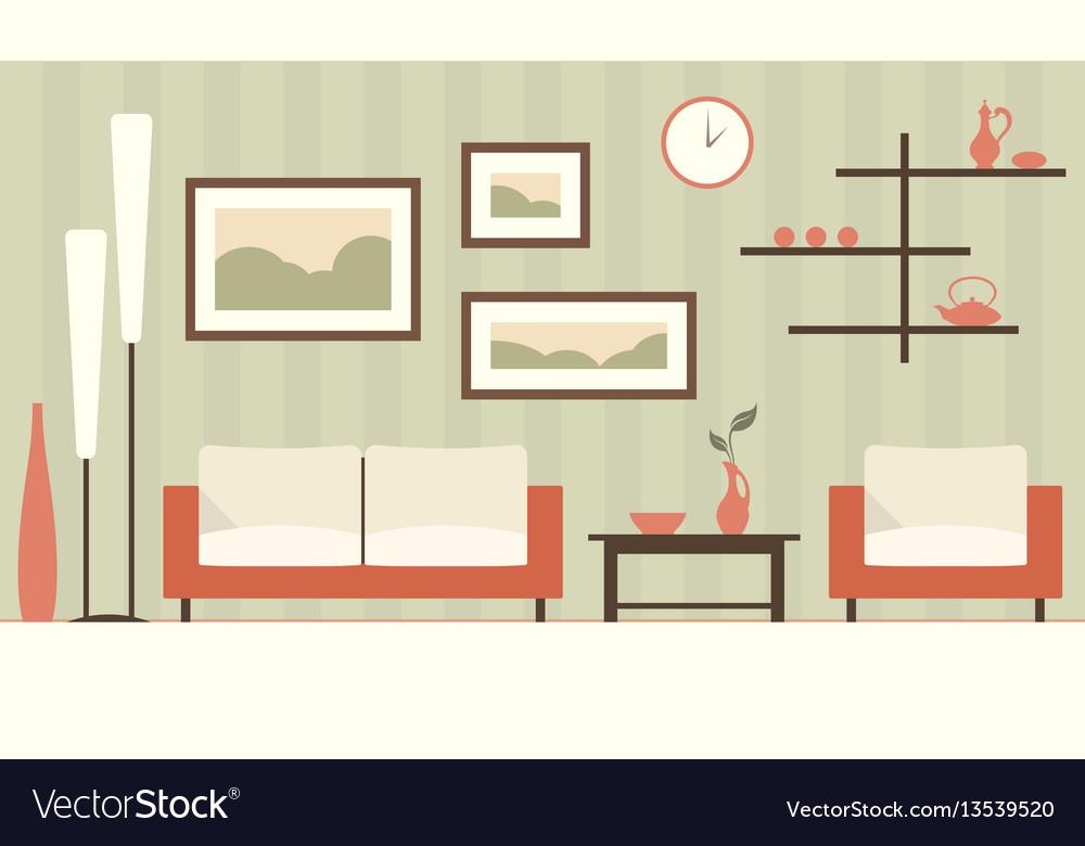 Color interior of cartoon minimalistic modern vector image