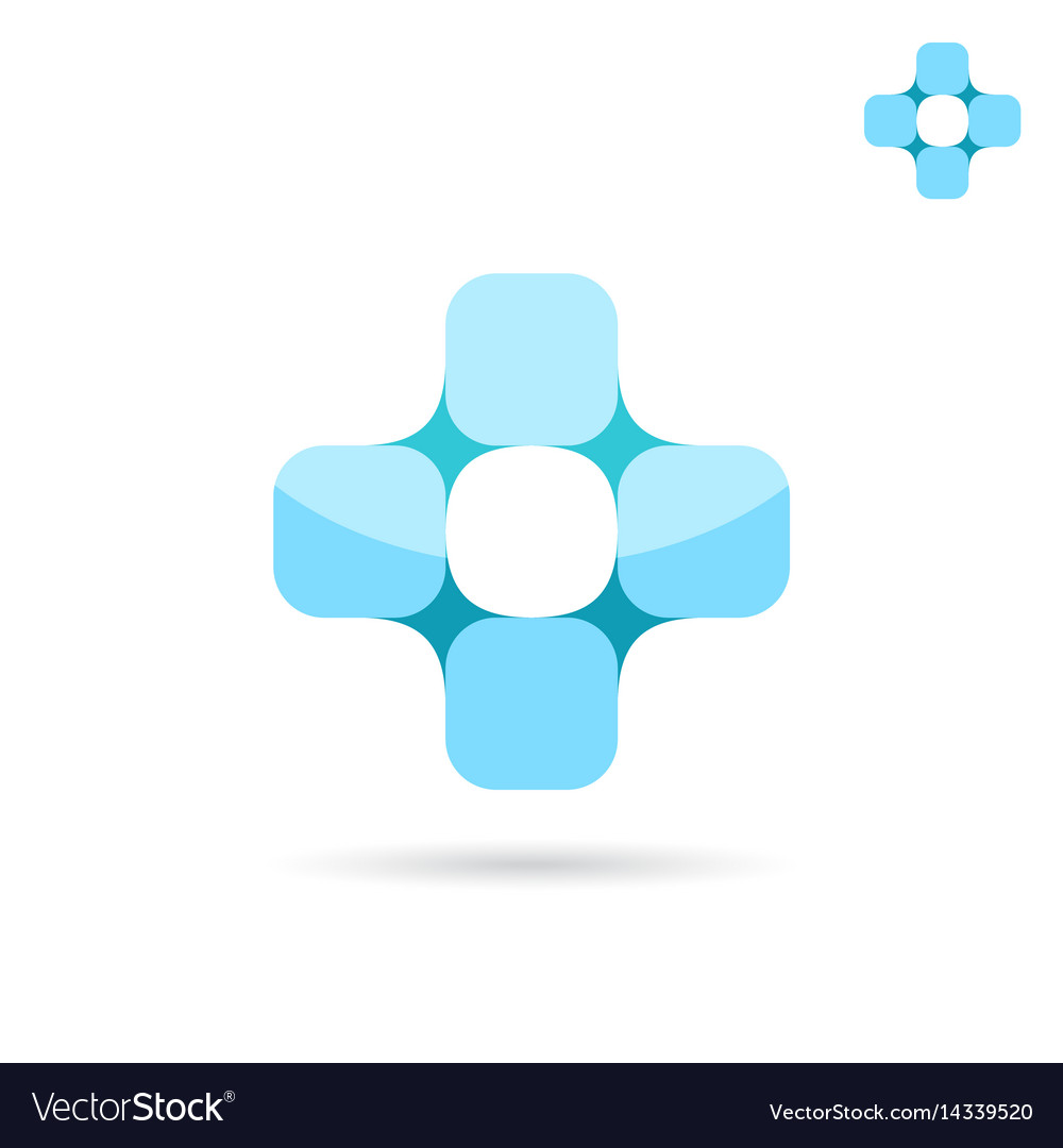 Connected squares forme medical cross shape vector image