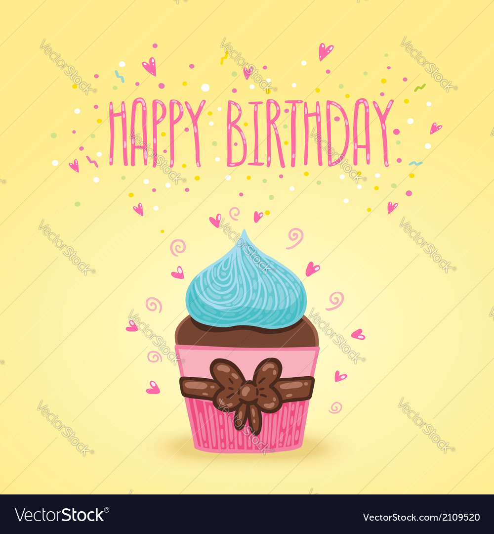 Happy Birthday card background with cupcake vector image