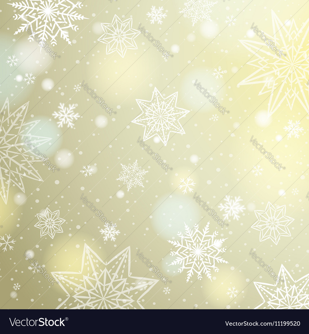 Light beige background with snowflakes and stars vector image