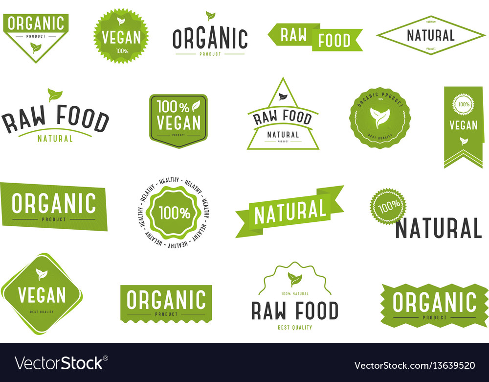 Organic labels set collection various logo vector image