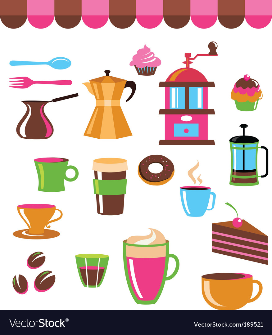Cafe elements vector image