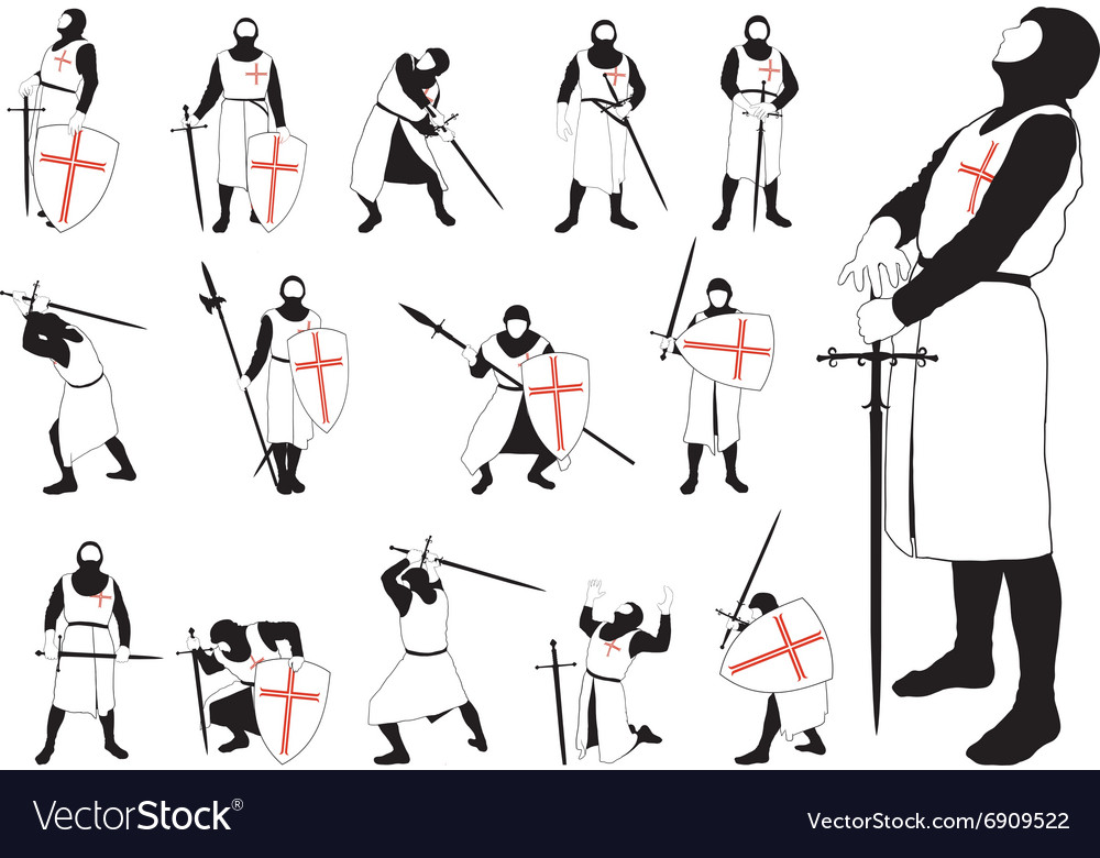 Set of silhouettes of the Crusader vector image