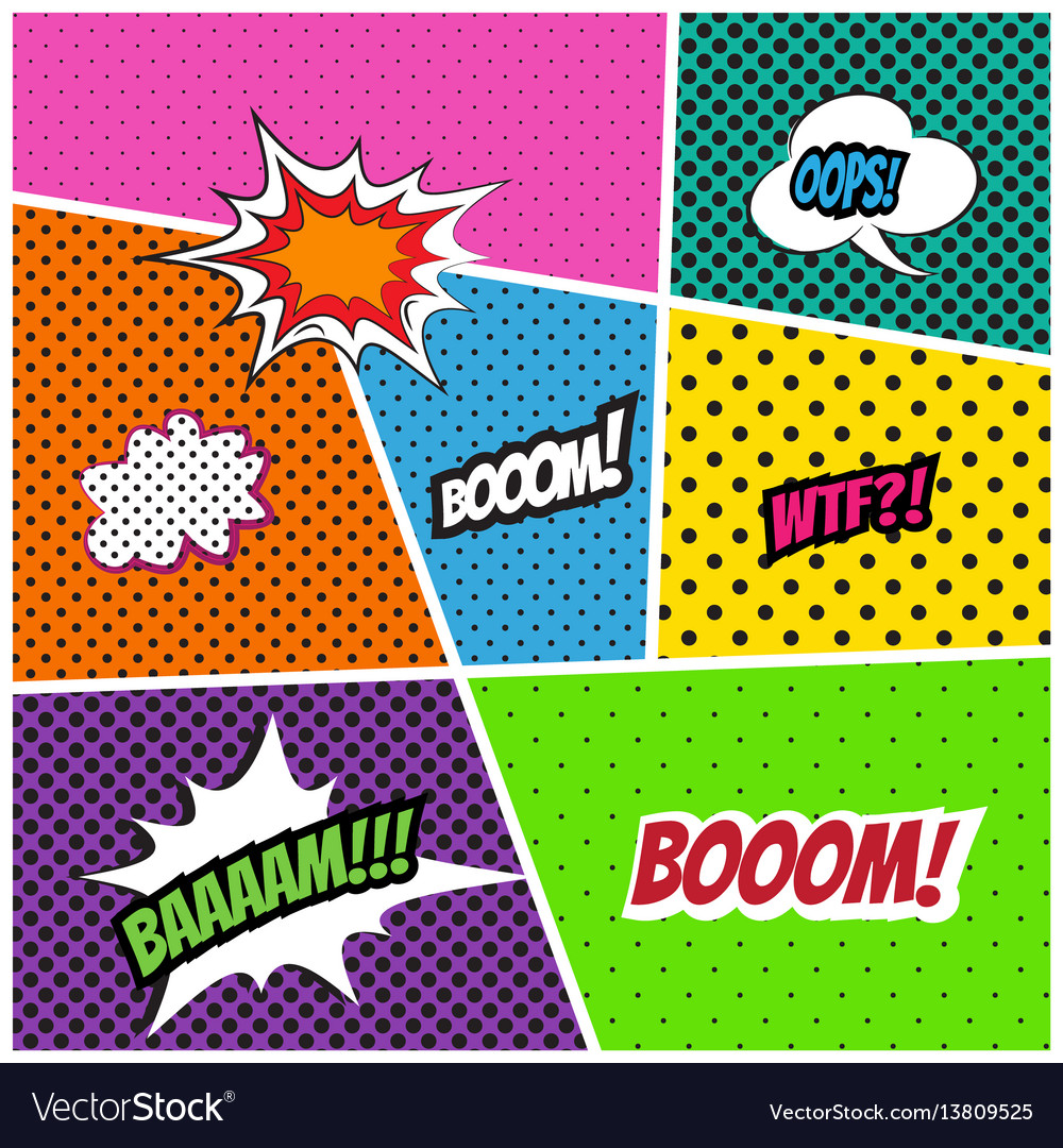 Comics style template background vector image