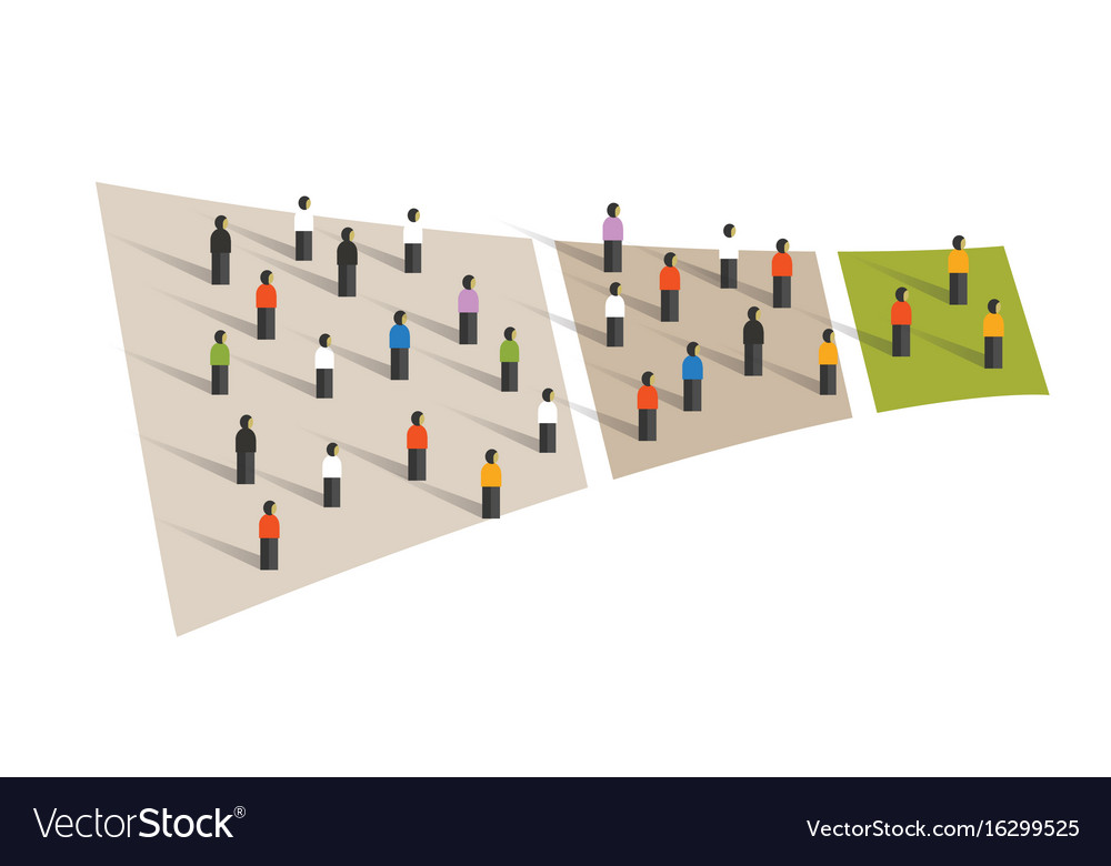 People crowd funnel flow conversion group graphic vector image