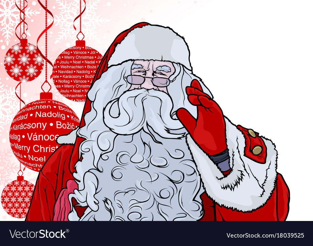 Santa claus and background with baubles vector image