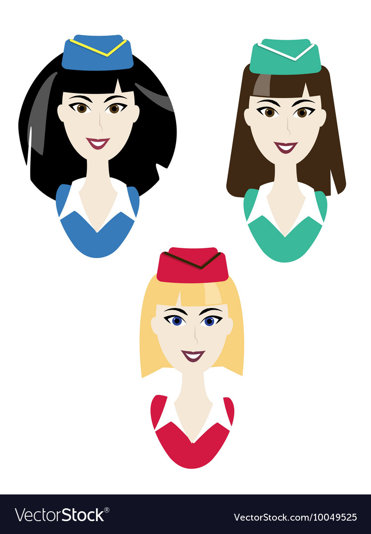 Stewardess icons Simple air hostess avatar vector image