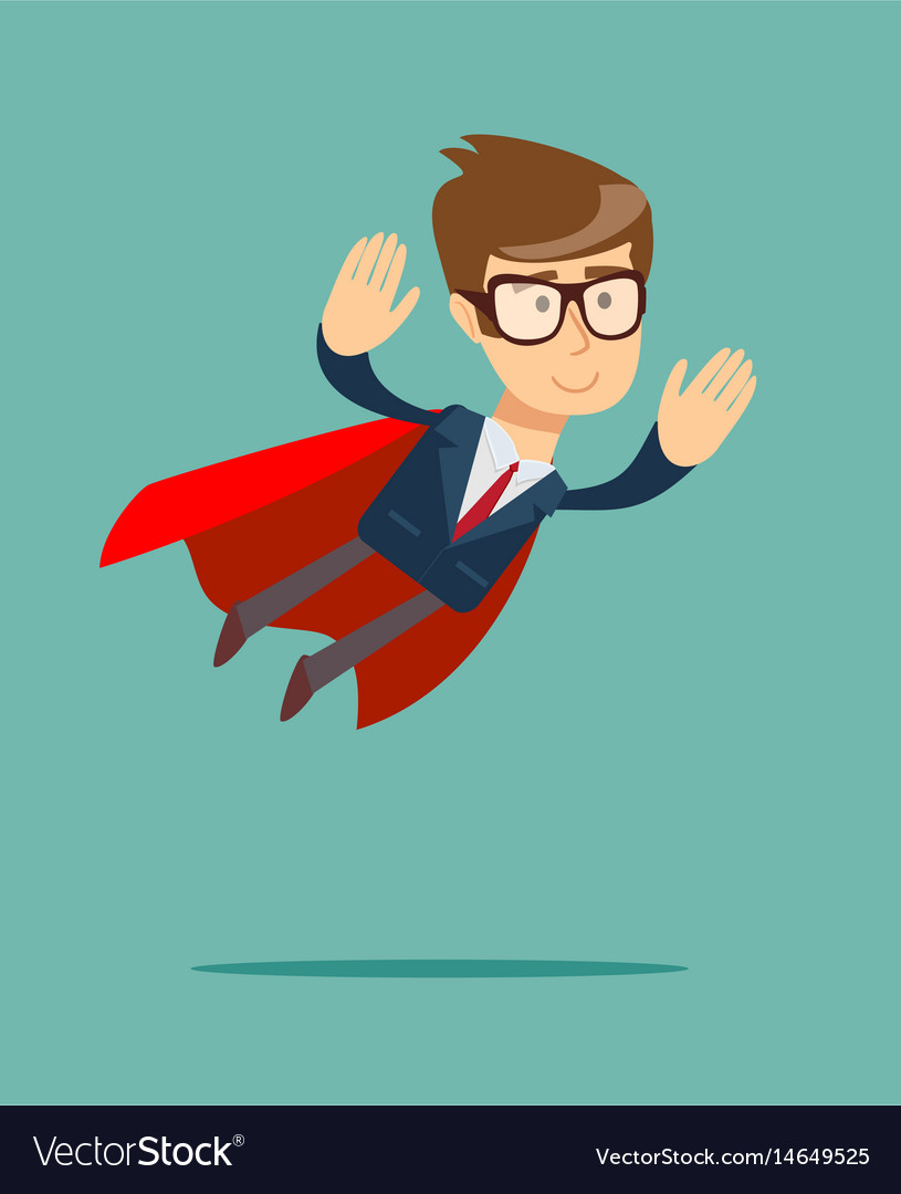 Super businessman in a cloak of superman vector image