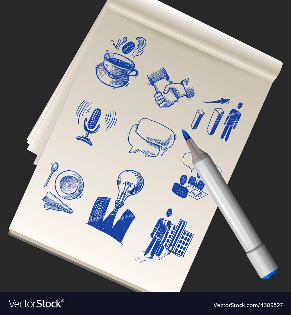 Sketchbook With Business Doodles vector image