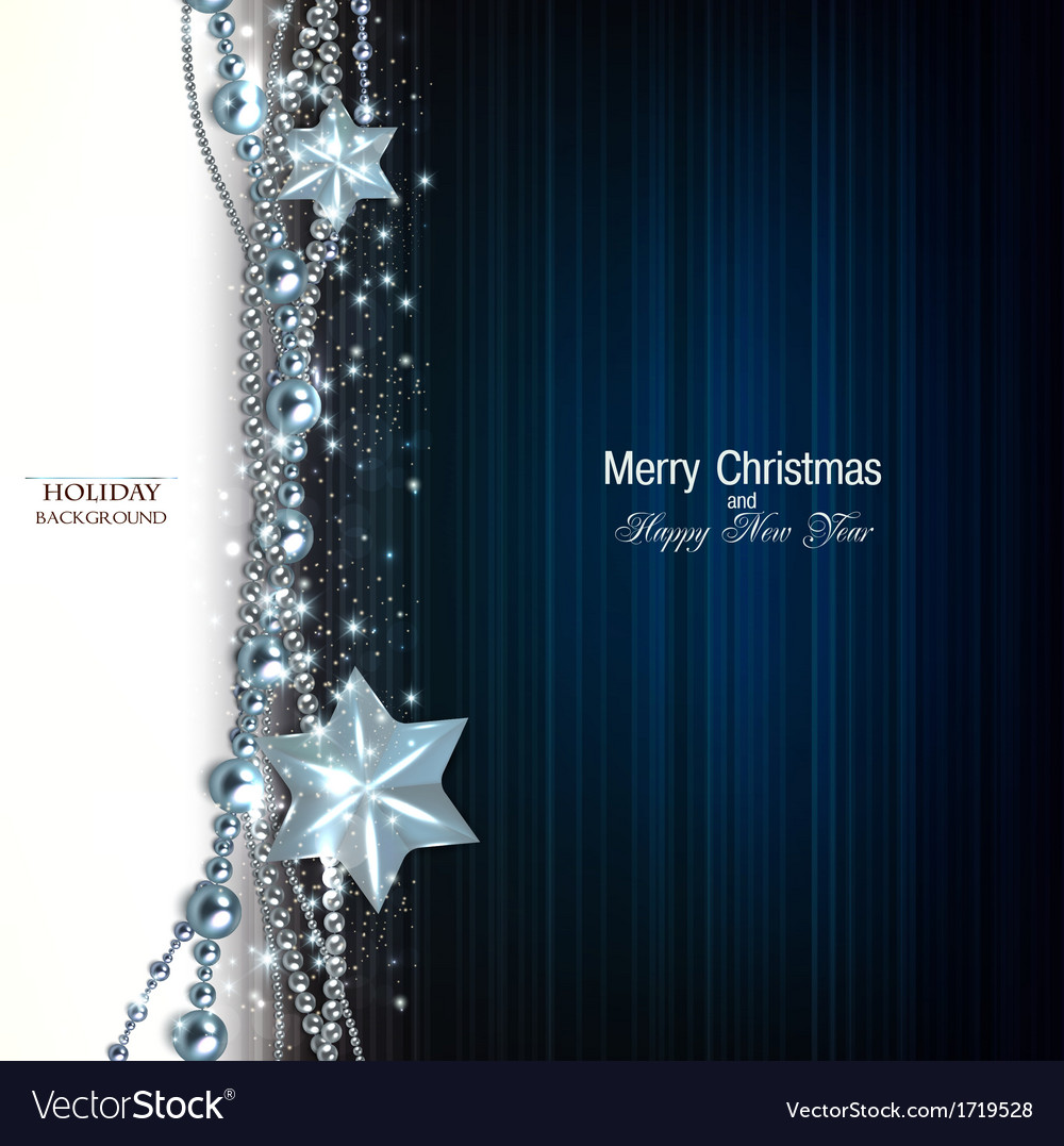 Elegant christmas background with blue garland and vector image