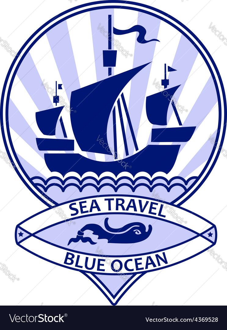 Blue ocean travel vector image
