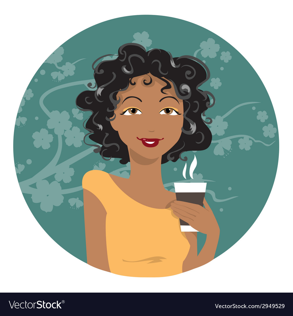 African American woman drinking coffee vector image