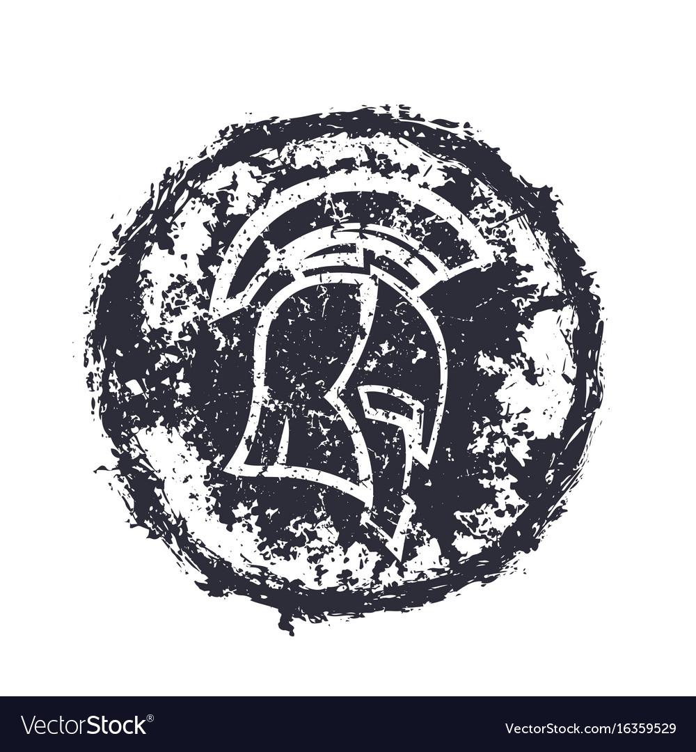 Grunge spartan helmet t-shirt print vector image